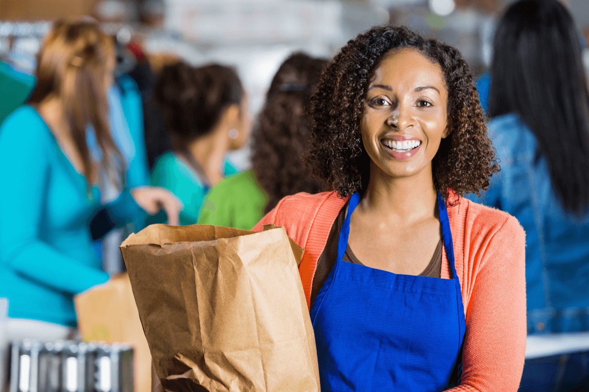 close up of a grocery store employee